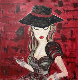 3368 אשה ברקע אדום