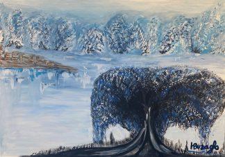 3364 עץ כחול בהרי שלג השתקפות