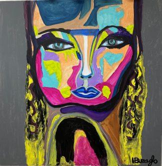 3369 דמות אשה צבעונית שער צהוב