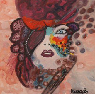 3352 אשה עם כובע ופרחים