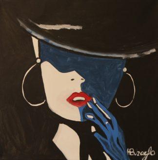 3353 אשה שחור כחול כובע