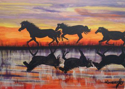 3377 השתקפות -סוסים דוהרים