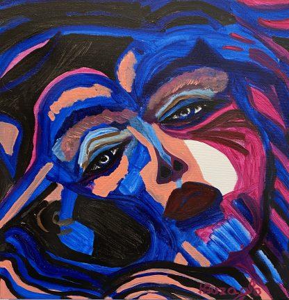 3397 דמות אשה בוורוד כחול